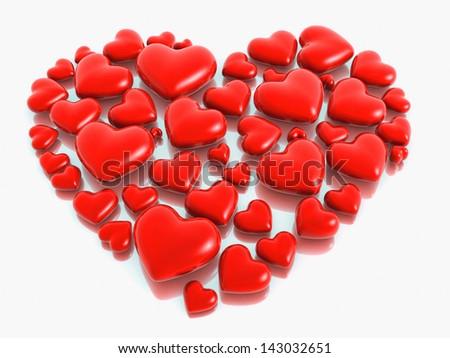Love shape stone valentine design 3d illustration - stock photo