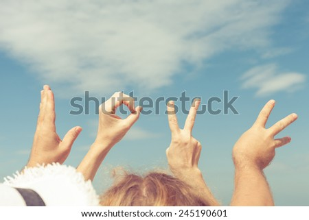 Love  sign language at the day time - stock photo