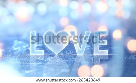 love sign text and glow lights - stock photo