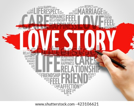 Love Story concept heart word cloud - stock photo