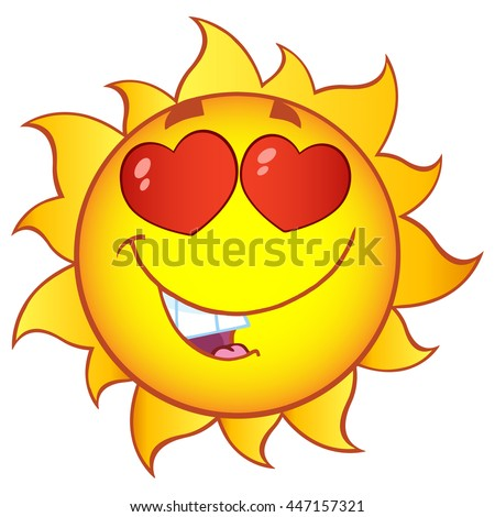 Love Sun Cartoon Mascot Character With Gradient. Raster Illustration Isolated On White Background