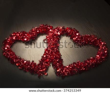 Love symbols/Two Red Valentine /Romantic decorations  on black background - stock photo