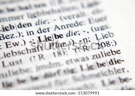 Love - text and explanation in German language./Liebe