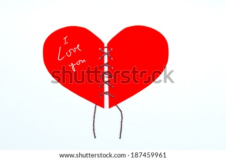 love text in red heart - stock photo