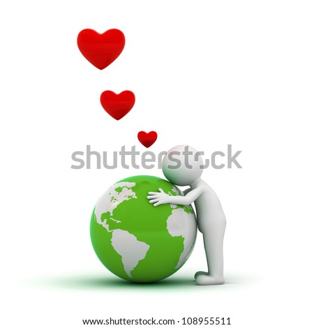 Love the earth concept, 3d man hugging green globe on white background - stock photo