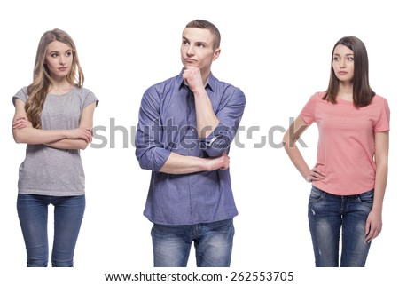 Love triangle. Difficult choice. isolated on white background. - stock photo