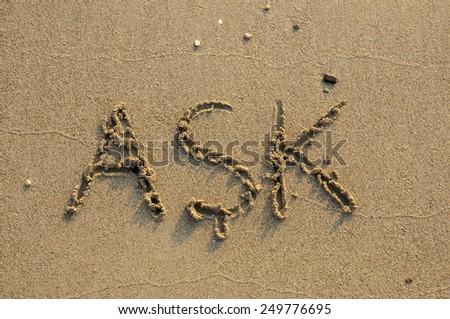 LOVE (Turkish: ASK) written on beach.  - stock photo