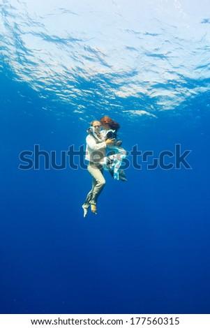 love underwater  - stock photo