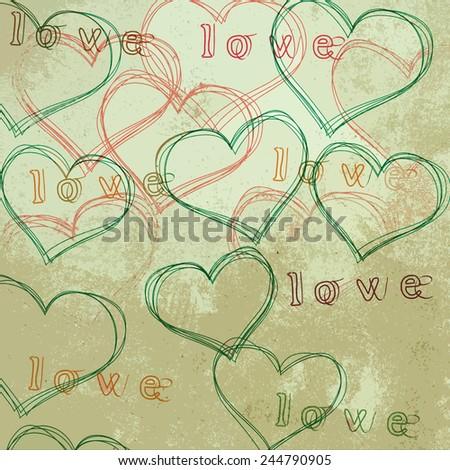 Love Valentine's day typographic texture - stock photo