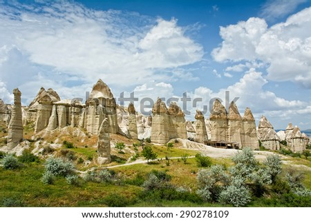 Love valley in Cappadocia, Anatolia, Turkey. Volcanic mountains in Goreme national park. - stock photo
