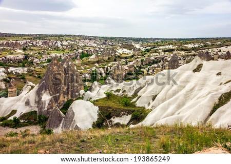 Love valley mountain landscape in Cappadocia, Turkey - stock photo