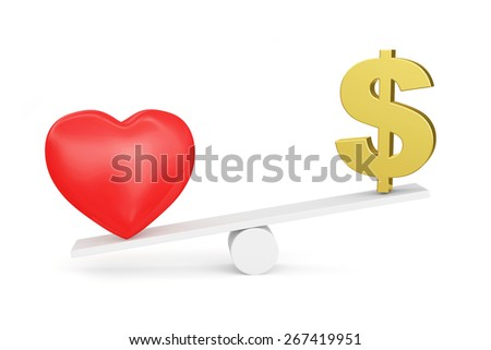 Love vs Money concept or Love vs Carrier concept. Love wins. Red heart and Dollar sign on scales isolated on white background - stock photo