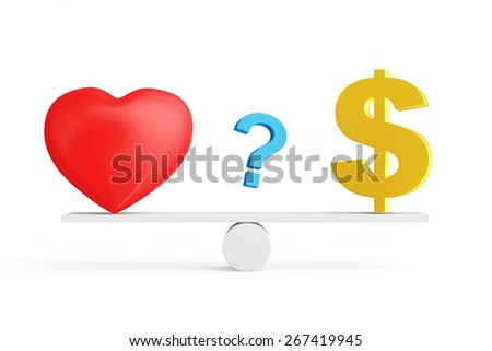 Love vs Money concept or Love vs Carrier concept. Red heart, Dollar sign and Question mark on scales isolated on white background - stock photo