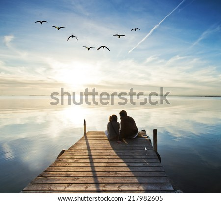 love watching the sun - stock photo