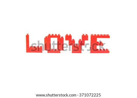 Love with Lego blocks isolated on a white background, Selective soft focus - stock photo