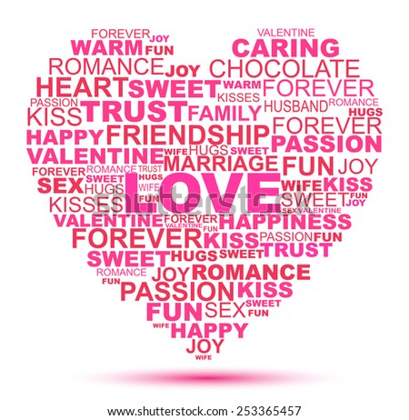 Love Word Collage In Heart Shape