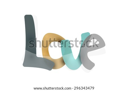 Love word, drawn lettering typographic design element. Hand lettering, handmade calligraphy isolated - stock photo