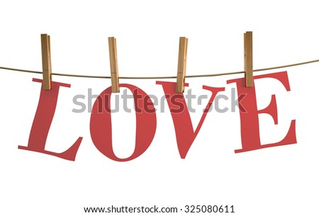 love word drying on a clothesline, 3d illustration