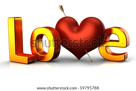 Love word heart pierced by Cupid's arrow letters Valentine's Day banner 14 february decoration icon marriage wedding honeymoon greeting card shiny design element 3d render isolated on white background - stock photo