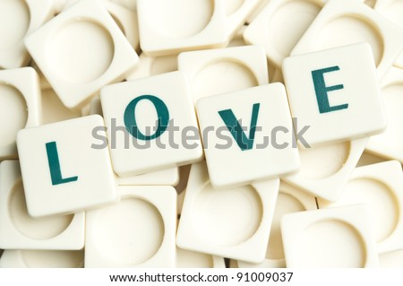 Love word made by leter pieces