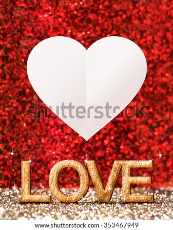 Love word ( made from wood) and white heart in gold and red sparkling room, Mock up for adding your text for valentine day - stock photo