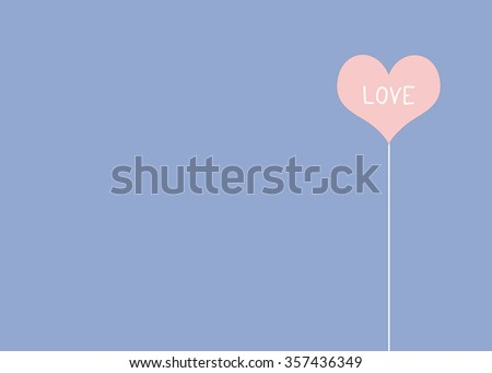 Love word on pink, rose quart, heart shape over blue, serenity, background, valentine's day concept - stock photo