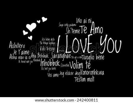 "Love words ""I love you"" in different language of the world with love hearts, words cloud - stock photo"