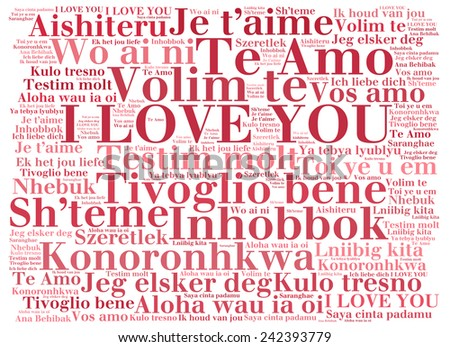 "love words ""I love you"" in different languages of the world, words cloud - stock photo"
