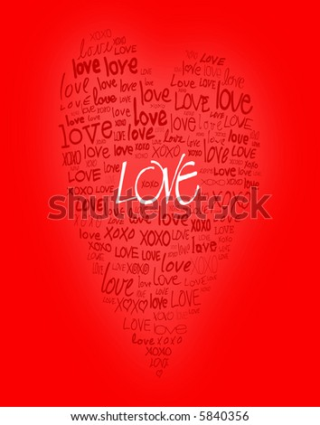 love written in different handwriting and in the shape of a heart - stock photo