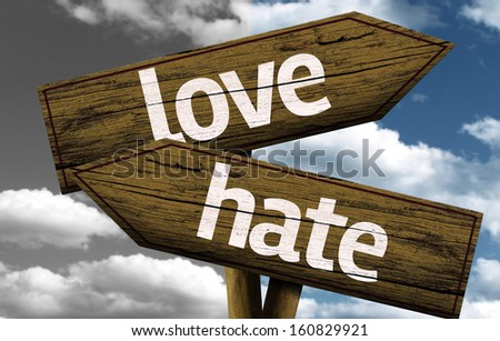 Love x Hate creative sign with clouds as the background - stock photo