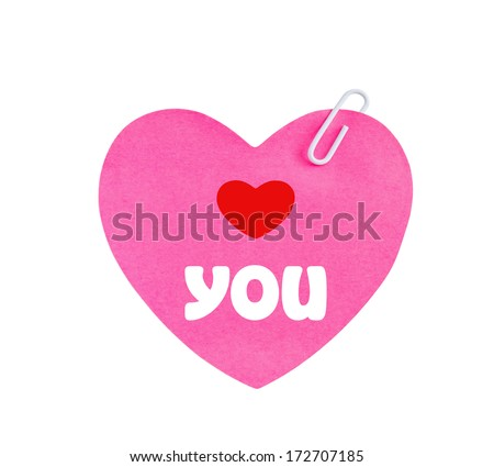 Love you message on heart shape pink paper with clip - stock photo