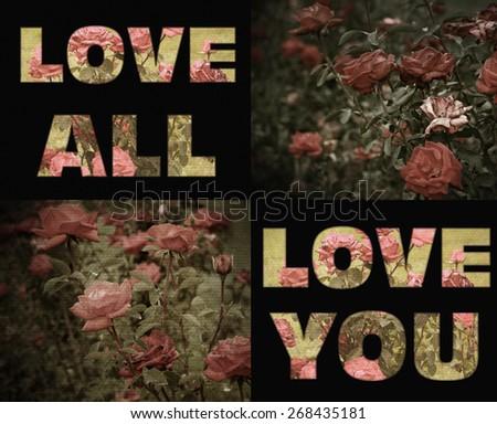 Love you rose vintage retro style - stock photo