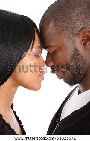 LOVE - Young African American Couple Closeup Portrait Isolated - stock photo