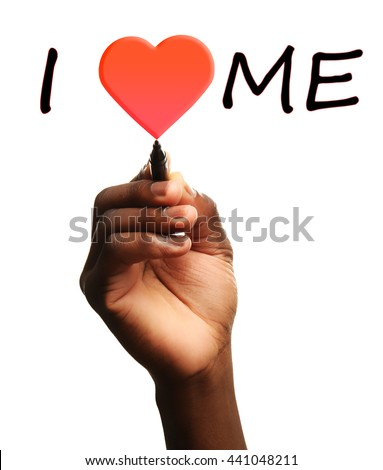 Love yourself concept. Male hand writing I Love Me on transparent whiteboard - stock photo