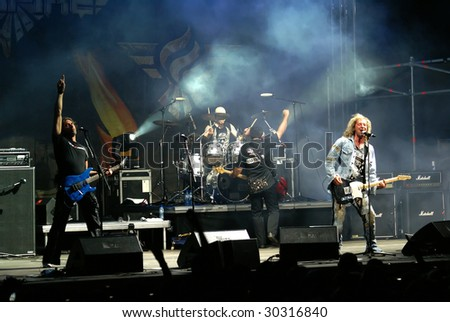 LOVECH, BULGARIA - MAY 09: Concert of German heavy metal band Bonfire. May 09, 2009 in Lovech, Bulgaria.