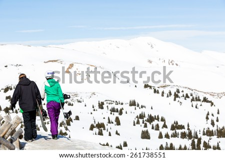 Loveland Pass, Colorado, USA-March 15, 2015. Typical weekend at Loveland pass on late Winter day. - stock photo