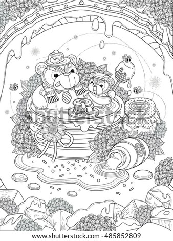 Lovely adult coloring page, foodie bear family enjoy their honey meal, anti-stress pattern for coloring.