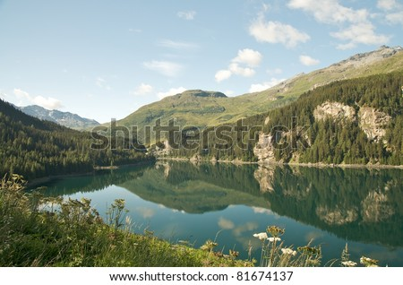 lovely alpine landscape (Lake Marmorera, Switzerland)