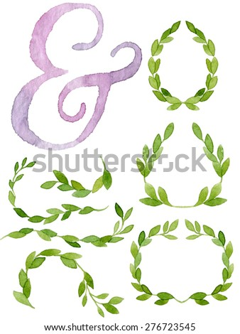 Watercolor Floral Ampersand Stock Photos, Royalty-Free Images