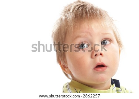 Lovely Baby Boy with beautiful blue eyes shot in studio