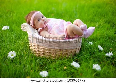 Lovely baby in basket - stock photo