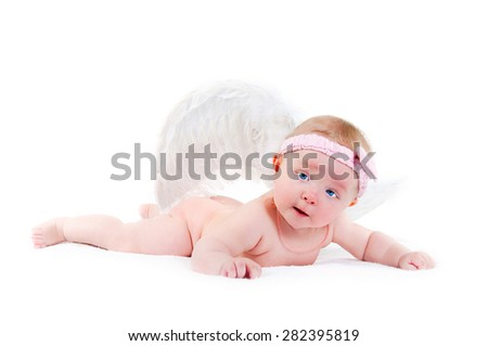 lovely baby with wings of an angel on a white background
