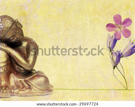 lovely background image with buddha statue and flora. useful design element. - stock photo