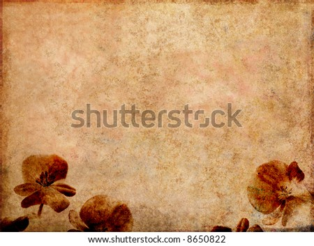 lovely background image with interesting texture and floral elements with plenty of space for text - stock photo