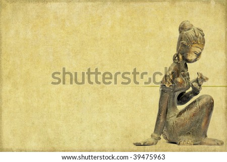 lovely background image with statue of indian girl. useful design element.