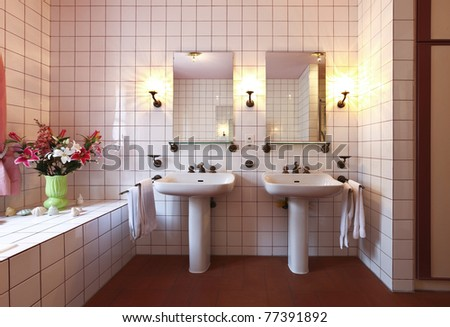 lovely bathroom in style classical, two sink - stock photo
