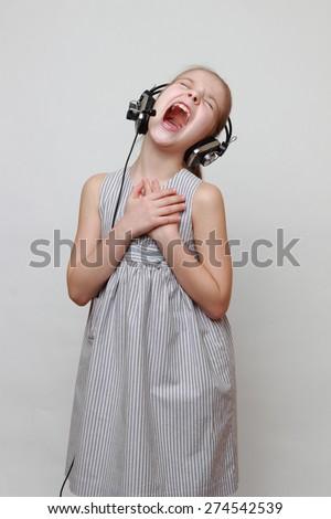 Lovely beautiful singing - stock photo