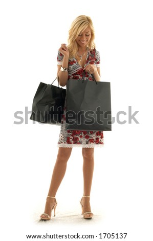 lovely beauty with shopping bags - stock photo