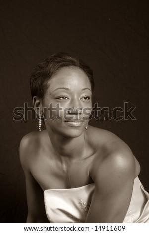 Lovely black woman in black and white - stock photo