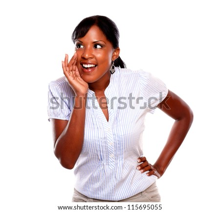Lovely black young woman screaming on isolated background